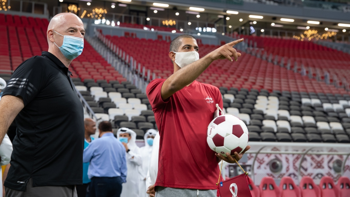 FIFA President Gianni Infantino and FIFA World Cup Qatar 2022 CEO, Nasser Al Khater, toured Qatar's brand new 60,000 seater Al Bayt Stadium. The pair took part in a friendly match at the venue that will host the first match at the FIFA World Cup Qatar 2022™.