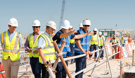 People visiting a construction site