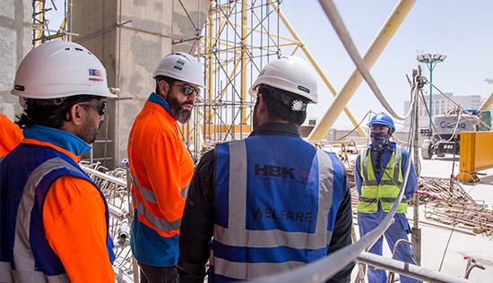 Workers' Welfare team visiting a construction site