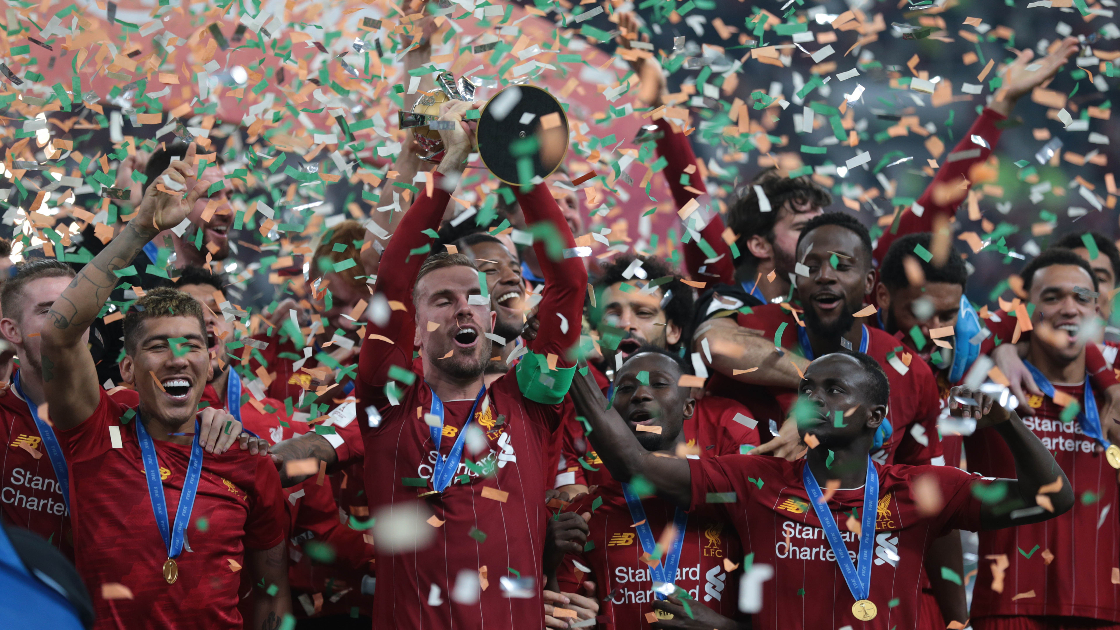 Liverpool celebrating being crowned the FIFA Club World Cup 2019 in Doha, Qatar.