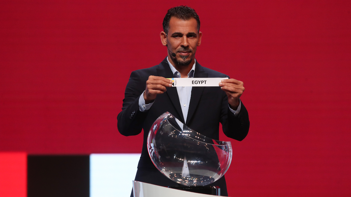Younis Mahmoud takes part in the FIFA Arab Cup draw