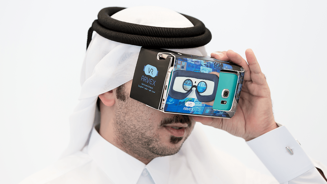 A Qatari man using the Arvex invention