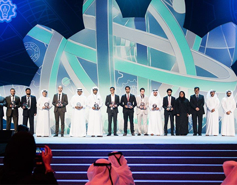Challenge 22 winners standing on stage with their awards