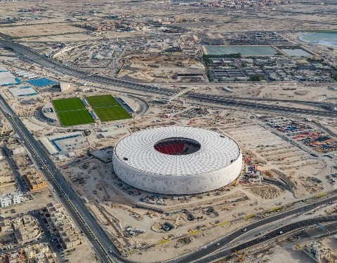 Al Thumama Stadium above